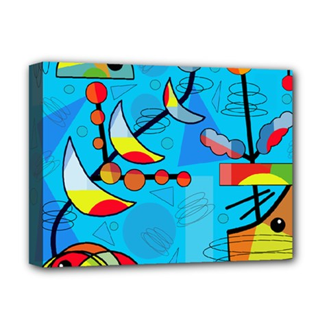 Happy day - blue Deluxe Canvas 16  x 12