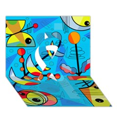 Happy day - blue Ribbon 3D Greeting Card (7x5)