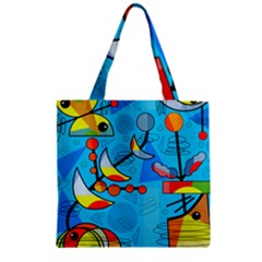 Happy day - blue Zipper Grocery Tote Bag