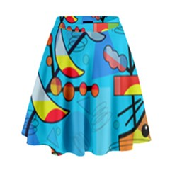 Happy day - blue High Waist Skirt