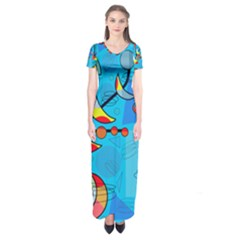 Happy Day   Blue Short Sleeve Maxi Dress