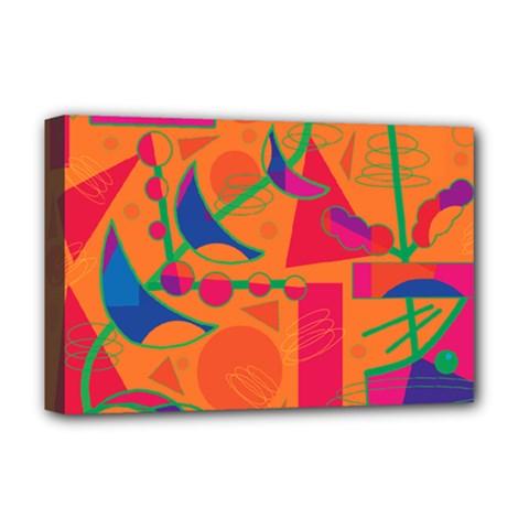 Happy day - orange Deluxe Canvas 18  x 12