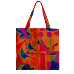 Happy day - orange Zipper Grocery Tote Bag