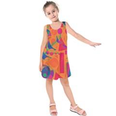 Happy day - orange Kids  Sleeveless Dress