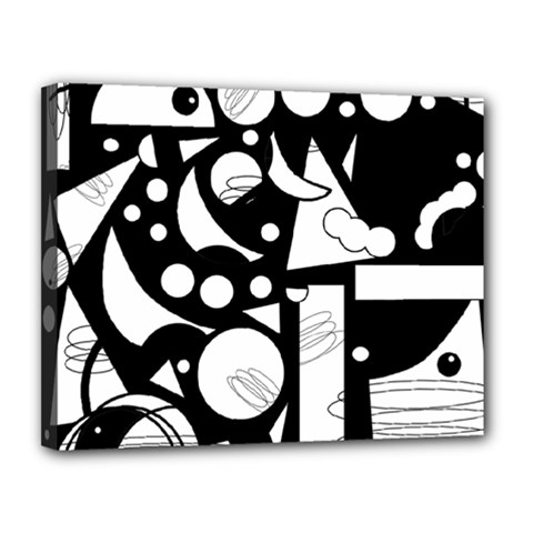 Happy day - black and white Canvas 14  x 11