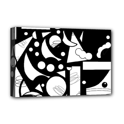 Happy day - black and white Deluxe Canvas 18  x 12