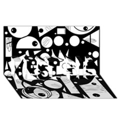 Happy day - black and white BEST SIS 3D Greeting Card (8x4)