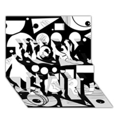 Happy day - black and white WORK HARD 3D Greeting Card (7x5)