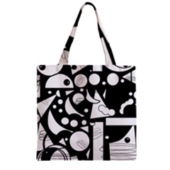 Happy day - black and white Zipper Grocery Tote Bag