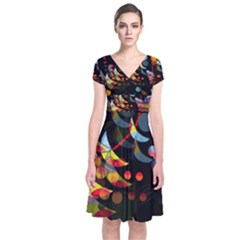 Magical night  Short Sleeve Front Wrap Dress