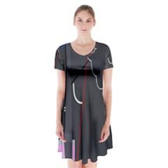 Plug In Short Sleeve V Neck Flare Dress
