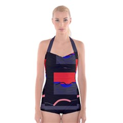 Geometrical abstraction Boyleg Halter Swimsuit