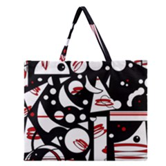 Happy life - red Zipper Large Tote Bag