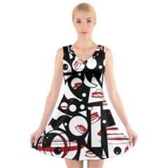 Happy life - red V-Neck Sleeveless Skater Dress