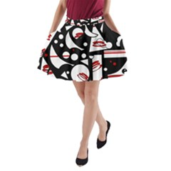 Happy life - red A-Line Pocket Skirt