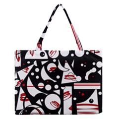 Happy Life   Red Medium Zipper Tote Bag