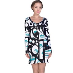 Happy life - blue Long Sleeve Nightdress