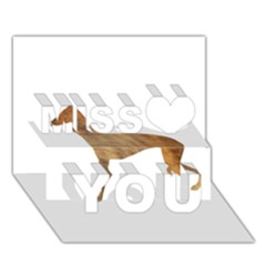 Greyhound silhouette brindle fur Miss You 3D Greeting Card (7x5)