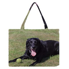 Black Lab Laying with toy Medium Zipper Tote Bag