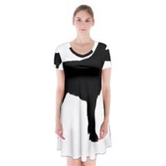 Spinone Italiano Silo Black Short Sleeve V-neck Flare Dress
