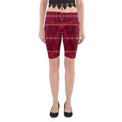 Yellow Diamonds On Pink And Red Yoga Cropped Leggings