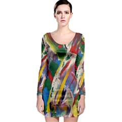 Abstract Art Artwork Colorful Long Sleeve Bodycon Dress