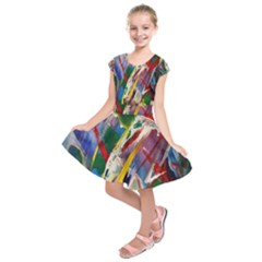 Abstract Art Artwork Colorful Kids  Short Sleeve Dress