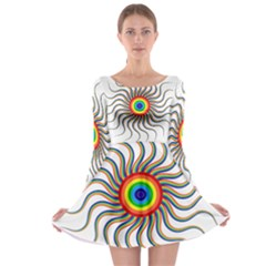 Abstract Art Colorful Prismatic Long Sleeve Skater Dress