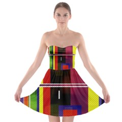 Abstract Art Geometric Background Strapless Bra Top Dress