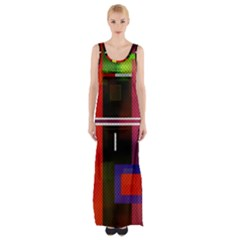 Abstract Art Geometric Background Maxi Thigh Split Dress