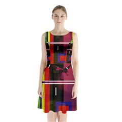 Abstract Art Geometric Background Sleeveless Chiffon Waist Tie Dress
