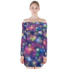 Abstract Background Graphic Design Long Sleeve Off Shoulder Dress