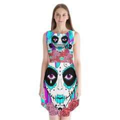 HIPPY CHICK sugar skull Sleeveless Chiffon Dress