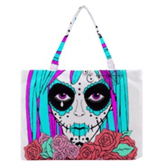 Hippy Chick Sugar Skull Medium Zipper Tote Bag