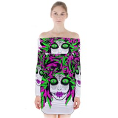 Spidie Lady sugar skull Long Sleeve Off Shoulder Dress