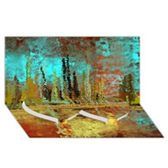 Autumn Landscape Impressionistic Design Twin Heart Bottom 3D Greeting Card (8x4)