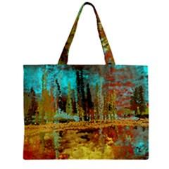Autumn Landscape Impressionistic Design Zipper Mini Tote Bag