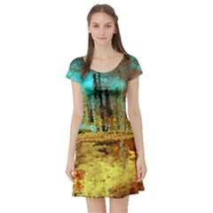 Autumn Landscape Impressionistic Design Short Sleeve Skater Dress