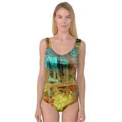 Autumn Landscape Impressionistic Design Princess Tank Leotard
