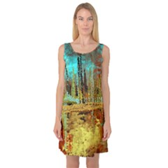 Autumn Landscape Impressionistic Design Sleeveless Satin Nightdress
