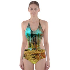 Autumn Landscape Impressionistic Design Cut-Out One Piece Swimsuit