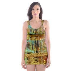 Autumn Landscape Impressionistic Design Skater Dress Swimsuit