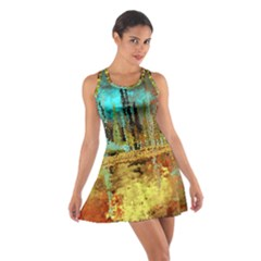 Autumn Landscape Impressionistic Design Cotton Racerback Dress