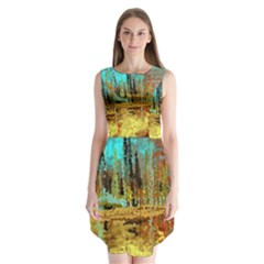 Autumn Landscape Impressionistic Design Sleeveless Chiffon Dress