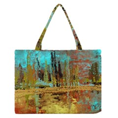 Autumn Landscape Impressionistic Design Medium Zipper Tote Bag