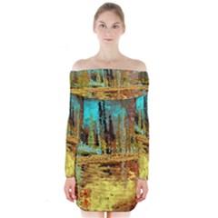 Autumn Landscape Impressionistic Design Long Sleeve Off Shoulder Dress