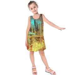 Autumn Landscape Impressionistic Design Kids  Sleeveless Dress