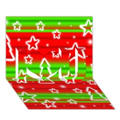 Christmas pattern I Love You 3D Greeting Card (7x5)
