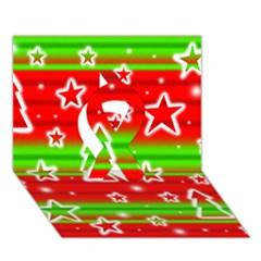 Christmas pattern Ribbon 3D Greeting Card (7x5)