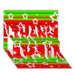 Christmas pattern THANK YOU 3D Greeting Card (7x5)